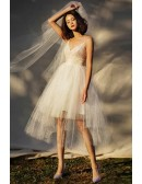 Simple Chic Tutu Tiered Tulle Short Tea Length Wedding Dress with Straps
