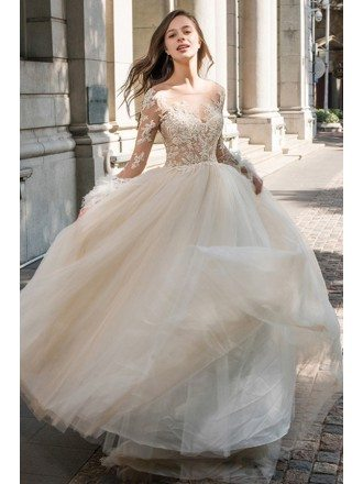 Sexy Sheer Top Beaded Long Sleeve Wedding Dress Open Back Tulle Ballgown