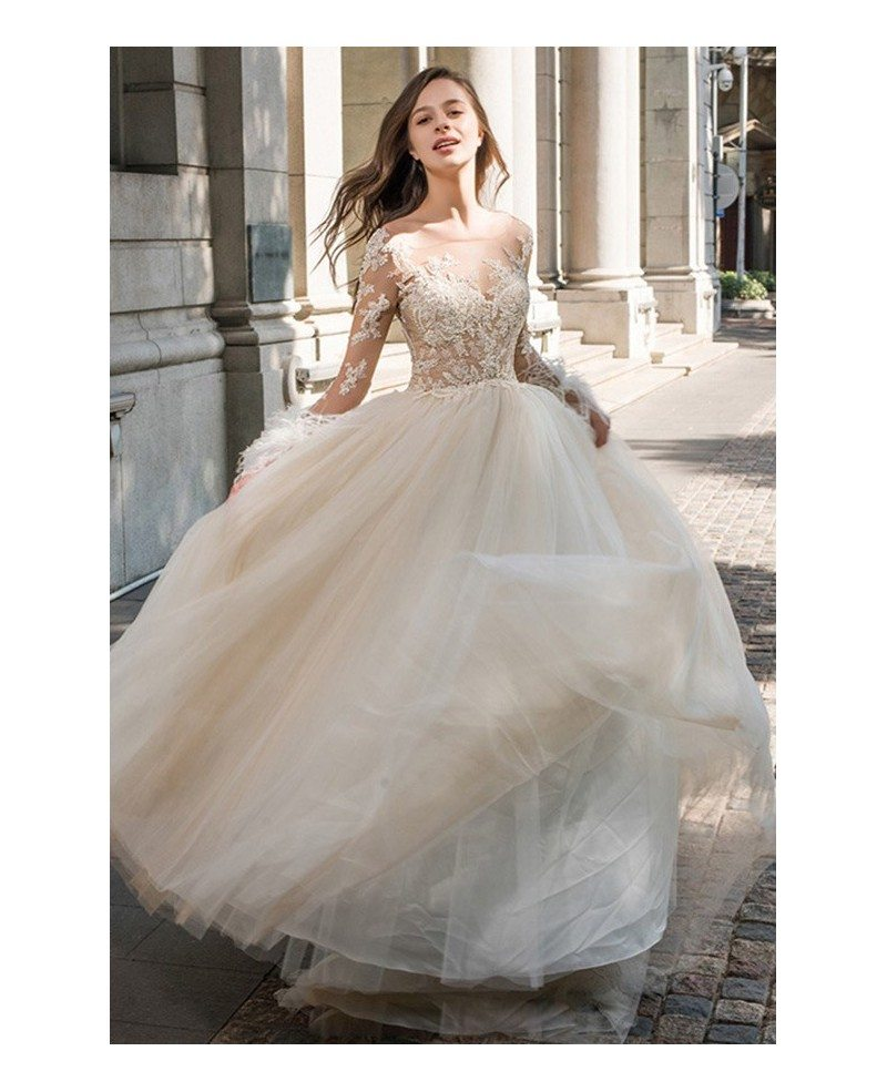 Wedding Dresses Wedding Gown Sheer Long Sleeves White: Sexy Sheer Top Beaded Long Sleeve Wedding Dress Open Back