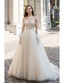 Sexy Sheer Top Beaded Long Sleeve Wedding Dress Open Back Tulle Ballgown
