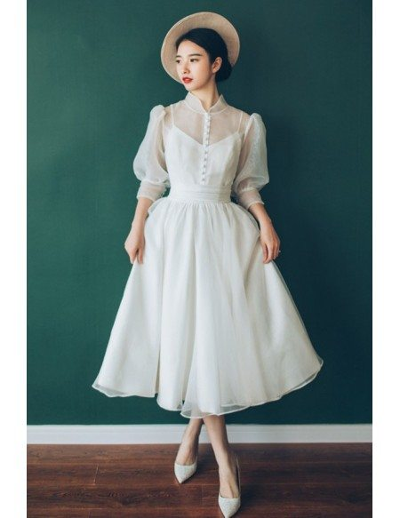 Vintage Chic Tea Length Bubble Sleeves Weddding Dress with Collar 70s 80s Style