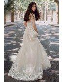 Charming Unique Lace Low Back Boho Beach Wedding Dress Destination Weddings