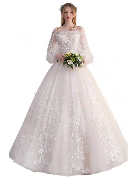 Gorgeous Off Shoulder Unique Lace Ballgown Wedding Dress with Puffy Sleeves Princess Style