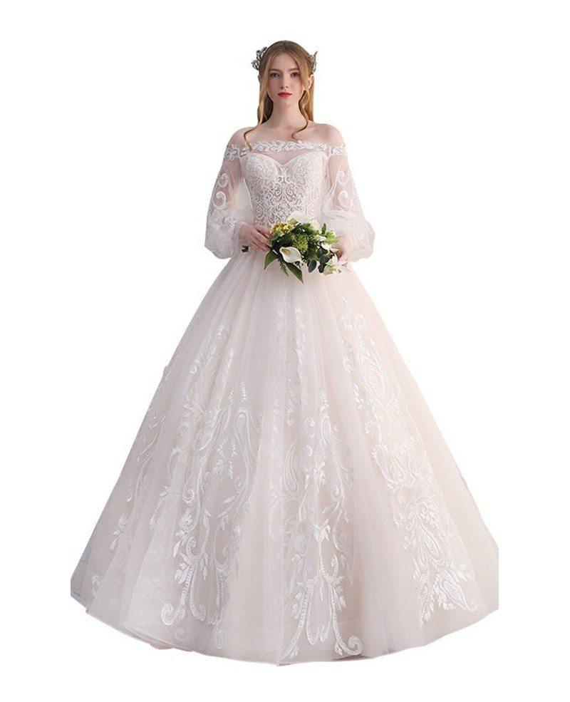 Gorgeous Off Shoulder Unique Lace Ballgown Wedding Dress with ...