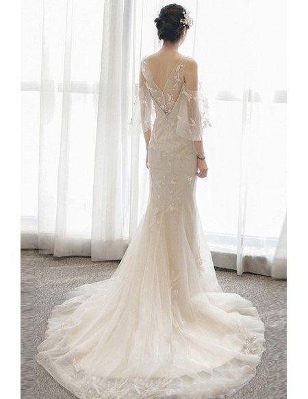 Gorgeous Leaf Lace Mermaid Beach Wedding Dress with Puffy Sleeves