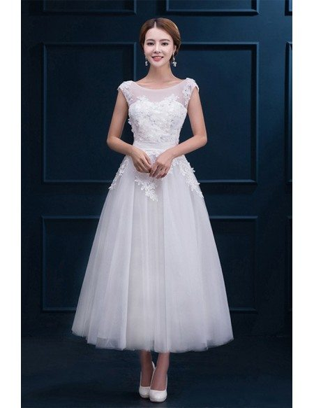 Modest Lace Cap Sleeve Tea Length Wedding Dress Wedding Reception Dress