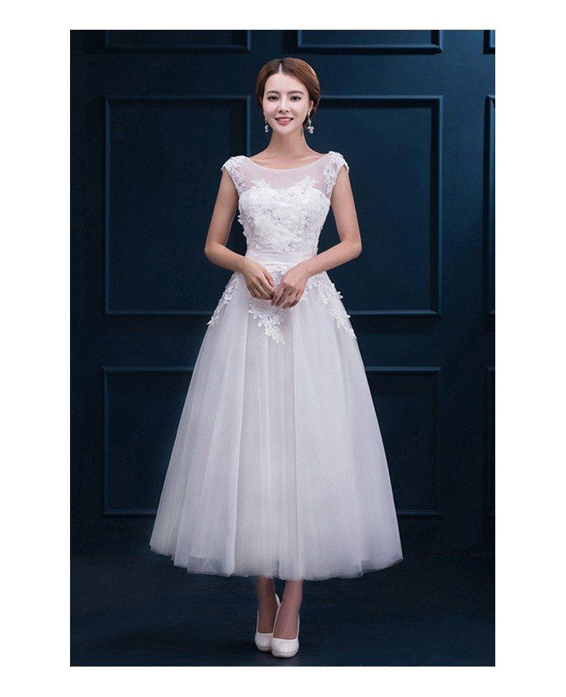 Cap Sleeve Wedding Dresses: Modest Lace Cap Sleeve Tea Length Wedding Dress Wedding