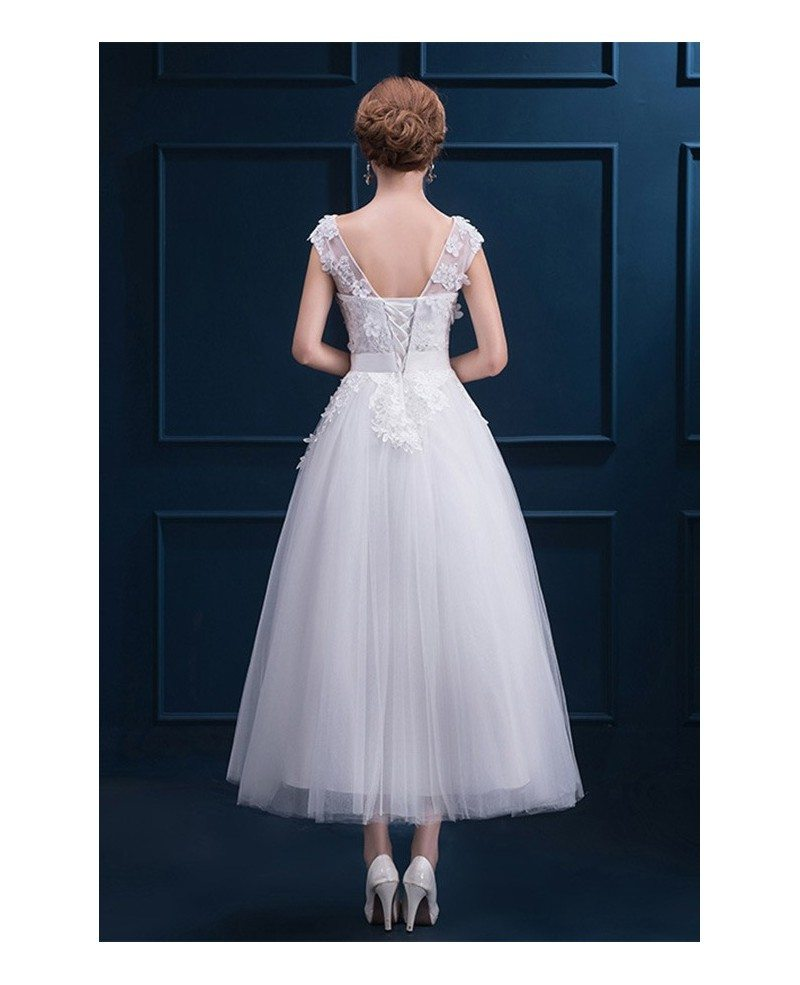 Lace Wedding Dresses With Cap Sleeves: Modest Lace Cap Sleeve Tea Length Wedding Dress Wedding
