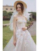 Peachy Boho Leaf Shape Lace Strapless Beach Wedding Dress Bohemian Style