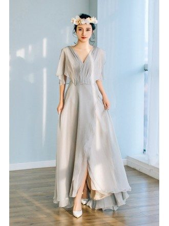 Flowy Grey Chiffon Low Back Beach Wedding Dress with Puffy Sleeves