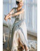 Flowy Grey Chiffon Low Back Beach Wedding Dress with Puffy Sleeves