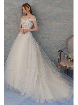 Pretty Ballgown Tulle Wedding Dress with Lace And Off Shoulder Long Train