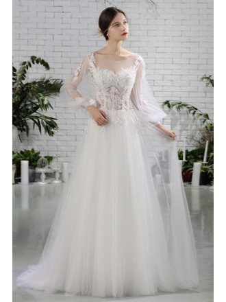 Flowy Long Tulle Beaded Flowers Beach Wedding Dress with Sheer Long Sleeves