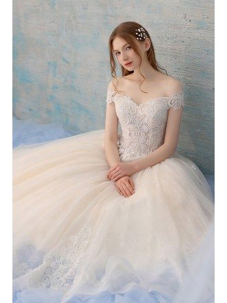 Unique Lace Off Shoulder Champagne Tulle Ballgown Wedding Dress Big Ballgown