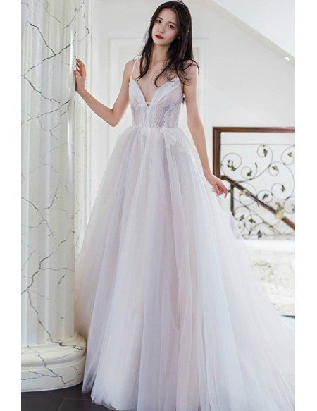 Fairy Princess V-neck Long Tulle Colored Wedding Dress with Spaghetti Straps