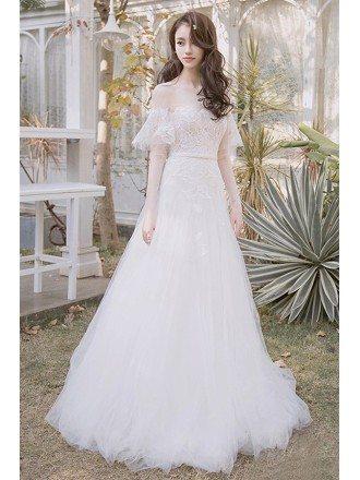 Off Shoulder Leaf Shape Lace Aline Beach Boho Wedding Dress Destination Weddings