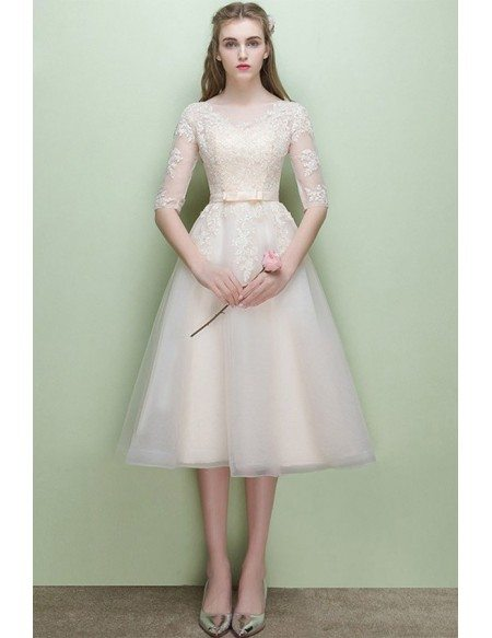 Lace Half Sleeve Light Champagne Wedding Reception Dress Tea Length
