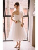Vintage Short Tulle Tea Length Simple Wedding Dress with Spaghetti Straps