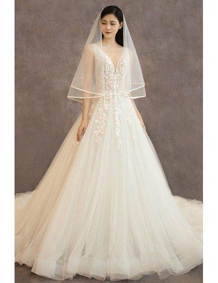Sexy Deep V-neck Flowers Long Tulle Wedding Dress Sleeveless