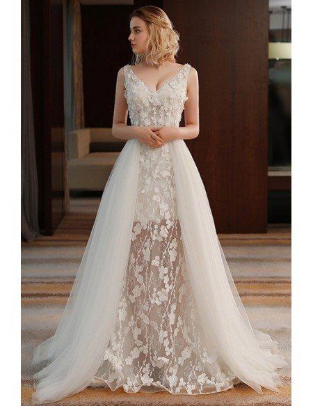 Unique Chic V-neck Split Tulle Flowers Lace Wedding Dress Beach Weddings