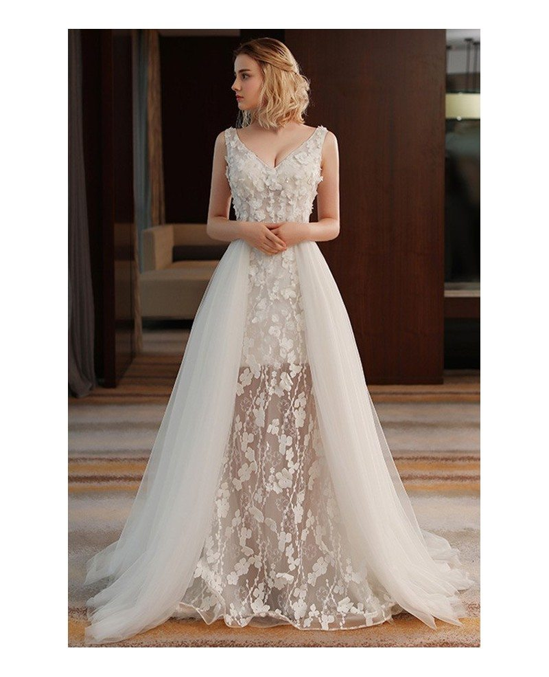 Unique Chic V-neck Split Tulle Flowers Lace Wedding Dress