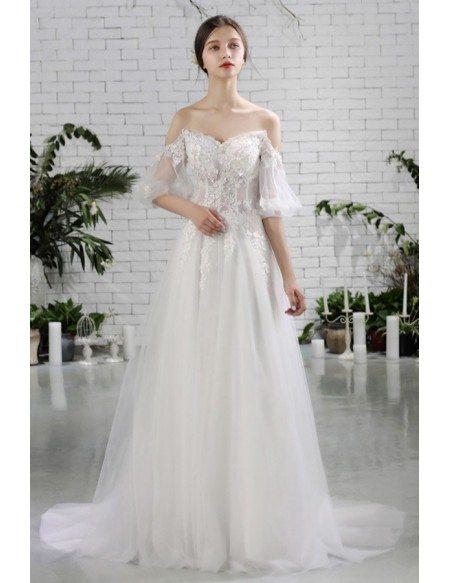 Flowers Beach Wedding Dress Flowy