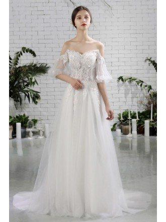 Pretty Off Shoulder Flowers Beach Wedding Dress Flowy with Sleeves