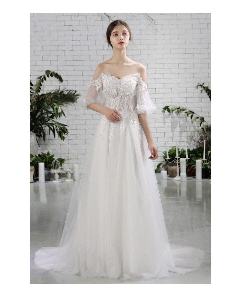 Pretty Wedding Dresses: Pretty Off Shoulder Flowers Beach Wedding Dress Flowy With