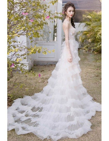 Peachy Sweetheart Empire Corset Wedding Dress with Tiered Tulle Low Back