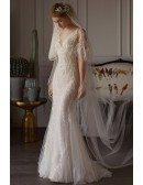 Flowy Tulle Mermaid Beach Wedding Dress with Butterfly Sleeves For Beach Weddings