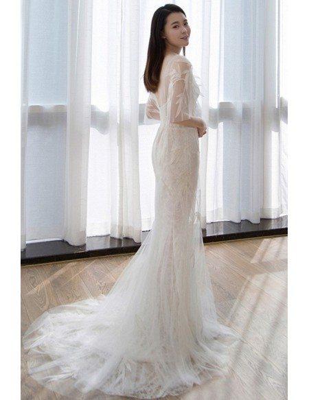 Flowy Tulle Mermaid Beach Wedding Dress With Butterfly Sleeves For Beach Weddings E8917 Gemgrace Com