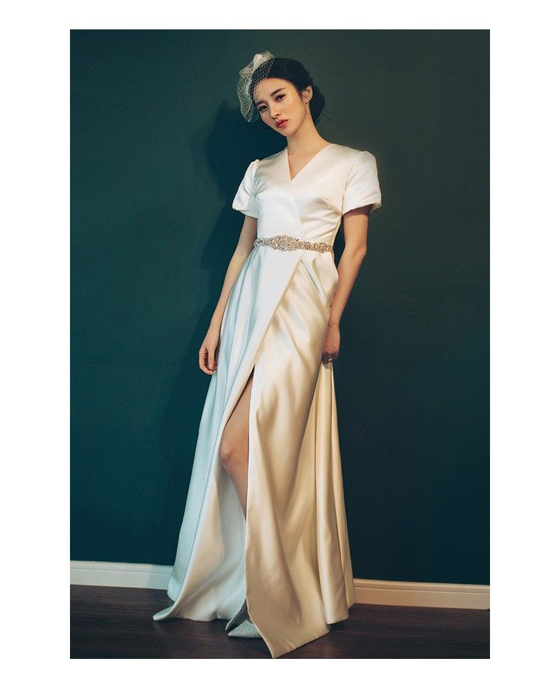 Vintage Wedding Dresses 80s: Elegant Vintage 70s 80s Split Leg Satin Wedding Dress