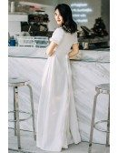 Elegant Vintage 70s 80s Split Leg Satin Wedding Dress Reception with Short Sleeves