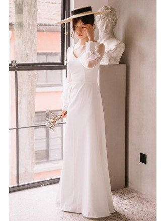 Elegant Floor Length Simple Wedding Dress V-neck with Long Sheer Sleeves