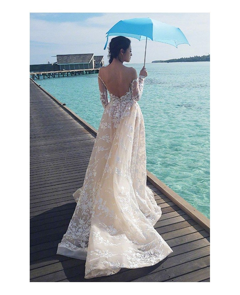 10 Best Celebrity Wedding Guest Dresses: Celebrity Style Sexy Low Back Lace Beach Wedding Dress