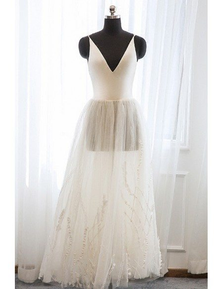 Vintage Tea Length Tulle Wedding Dress with Unique Lace For Destination Weddings