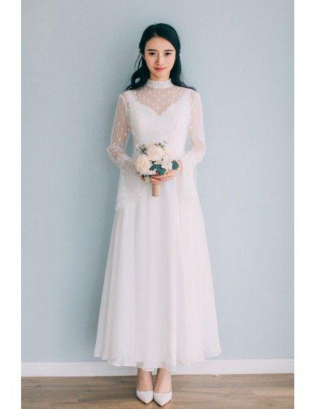 Vintage Ankle Length High Neckline Wedding Dress Polka Dot with Long Sleeves