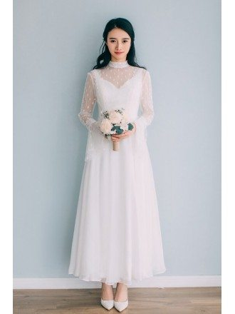 Vintage Ankle Length High Neckline Wedding Dress Polka Dot with Long Sleeves