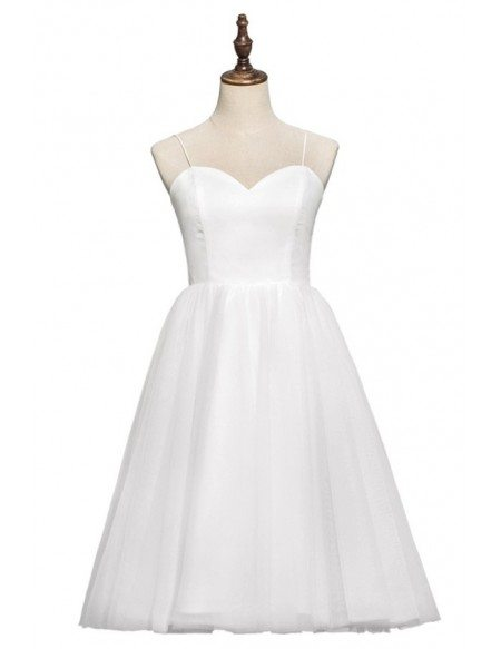 Simple Chic 70s 80s Vintage Tea Length Ballet Wedding Dress with Spaghetti Straps