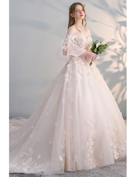 Off Shoulder Ballgown Flowers Princess Wedding Dress Butterfly Sleeves