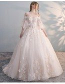 Off Shoulder Ballgown Flowers Princess Wedding Dress Butterfly Sleeves
