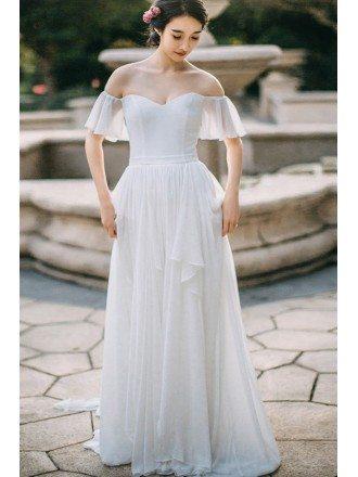 Simple Flowy Chiffon Off Shoulder Sleeve Summer Wedding Dress Long Elegant