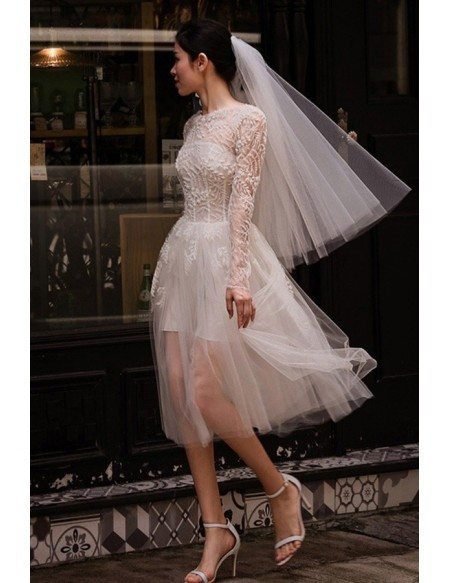 Short Tulle See-through Unique Short Wedding Dress with Long Sleeves