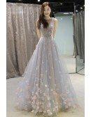 Fairy Flowers Petals Empire Flowy Long Wedding Dress Prom Dress Sleeveless