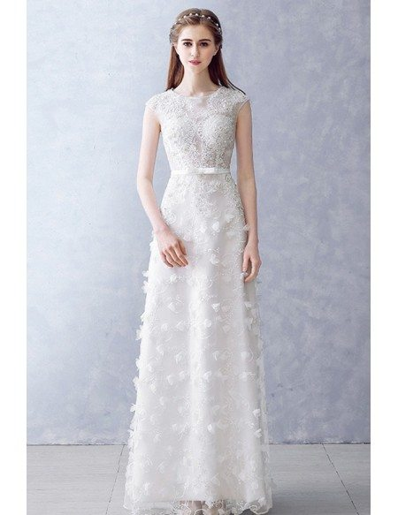 Round Neck Beaded Illusion Neckline Aline Wedding Dress For Reception Parties