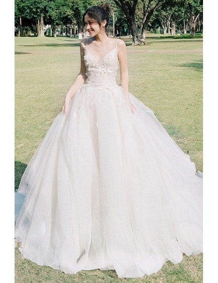 Peachy V-neck Beaded Ballgown Wedding Dress with Spaghetti Straps For Outdoor Weddings