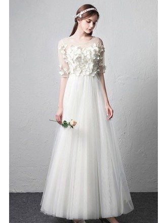 Romantic Illusion Neckline Butterflies Simple Wedding Dress with Half Sleeves