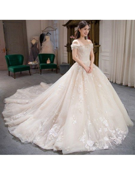 Charming Fairy Lace Ballgown Wedding Dress Off Shoulder with Train