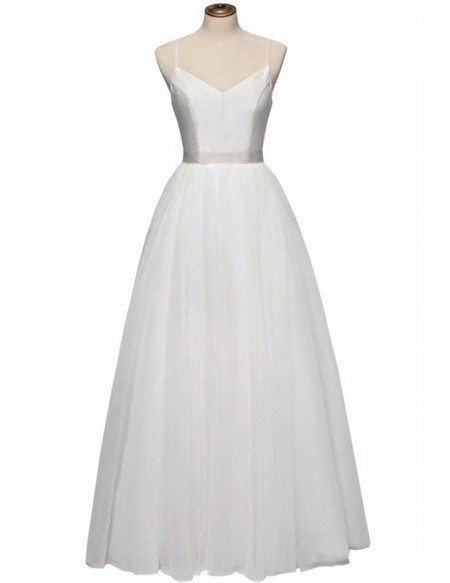 Vintage Simple Bodice Ballet Wedding Dress Floor Length with Straps
