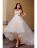 Chic High Low Lace Ballgown Wedding Dress Asymmetrical Strapless with Train